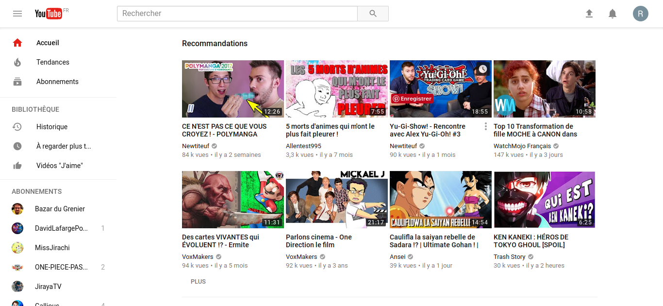 Youtube avant mode blanc